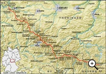 Geografische Lage des Thüringer Waldes