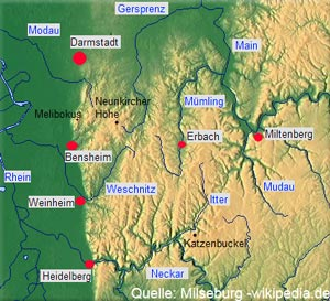 Karte Odenwald