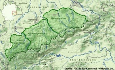 Karte Erzgebirge
