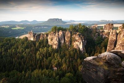 Blick zur Bastei und Lilienstein