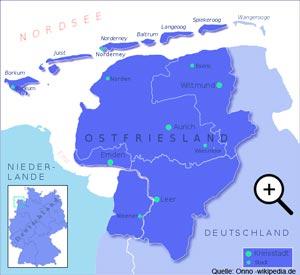 Karte Ostfriesland